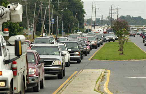 Motorists make their way out of the area, in anticipation of Tropical Storm Isaac, which is expected to make landfall on the Louisiana coast as a hurricane, in Belle Chasse, La., Monday, Aug. 27, 2012.  <span class=meta>(AP Photo&#47; Gerald Herbert)</span>
