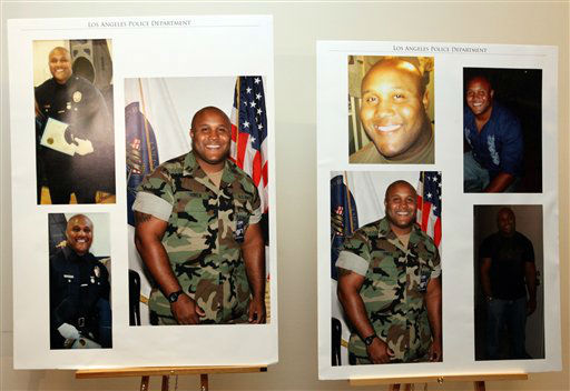 "<div class=""meta ""><span class=""caption-text "">This undated series of photos released by the Los Angeles Police Department shows suspect Christopher Dorner, a former Los Angeles officer.  Dorner, who was fired from the LAPD in 2008 for making false statements, is linked to a weekend killing in which one of the victims was the daughter of a former police captain who had represented him during the disciplinary hearing. Authorities believe Dorner opened fire early Thursday on police in cities east of Los Angeles, killing an officer and wounding another.  Police issued a statewide ""officer safety warning"" and police were sent to protect people named in the posting that was believed to be written by Dorner.    (AP Photo/ HOPD)</span></div>"