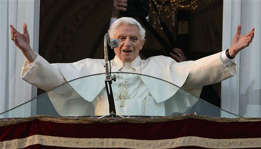 "<div class=""meta image-caption""><div class=""origin-logo origin-image ""><span></span></div><span class=""caption-text"">Pope Benedict XVI greets the crowd from the window of the Pope's summer residence of Castel Gandolfo, the scenic town where he will spend his first post-Vatican days and make his last public blessing as pope,Thursday, Feb. 28, 2013.   (AP Photo/ Andrew Medichini)</span></div>"