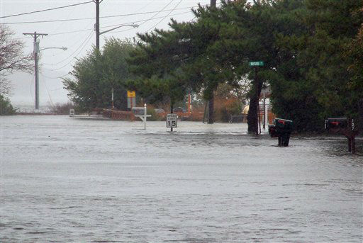 "<div class=""meta ""><span class=""caption-text "">Flood waters from Rehoboth Bay inundate the streets of Dewey Beach, Del., on Monday, Oct. 29, 2012, as Hurricane Sandy bears down on the East Coast. Sandy, a Category 1 hurricane with sustained winds of 75 mph is about 425 miles (685 kilometers) southeast of New York City and the center of the storm is expected to be near the mid-Atlantic coast on Monday night. </span></div>"