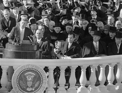 "<div class=""meta ""><span class=""caption-text "">** FILE ** In this Jan. 20, 1961, file photo, President John F. Kennedy gives his inaugural address at the Capitol in Washington after he took the oath of office.  Listening in front row of inaugural seats, from left, are, Vice President Lyndon B. Johnson, Richard M Nixon, Kennedy's campaign opponent, Sen John Sparkman of Alabama, and former President Harry Truman. (AP Photo, File) (AP Photo/ Anonymous)</span></div>"