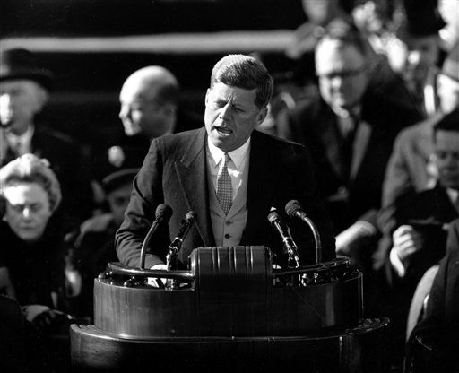 FILE _ U.S. President John F. Kennedy delivers his inaugural address after taking the oath of office at Capitol Hill in Washington, D.C. in this Jan. 20, 1961 file photo. The 14-minute inaugural&#39;s Cold War-era content, shaped by a World War II veteran for a country on the brink of cultural upheaval, is certainly outdated. Were it uttered by a modern politician, Kennedy&#39;s famous &#34;ask not&#34; call to service might well be derided as a socialist pitch for more government. &#34;Unfortunately, in today&#39;s environment, speeches are more likely to say, &#34;Ask not what you can do for your country, ask what you can do for your party,&#34; says Mark McKinnon, a former adviser to both Republicans and Democrats who recently helped establish the nonpartisan organization No Labels.    &#40;AP Photo, File&#41; <span class=meta>(AP Photo&#47; Anonymous)</span>