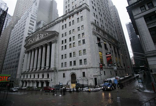 "<div class=""meta ""><span class=""caption-text "">The streets surrounding the New York Stock Exchange are deserted as financial markets remain closed for the second day due to superstorm Sandy, Tuesday, Oct. 30, 2012. Sandy, the storm that made landfall Monday, caused multiple fatalities, halted mass transit and cut power to more than 6 million homes and businesses. (AP Photo/Richard Drew) (AP Photo/ Richard Drew)</span></div>"