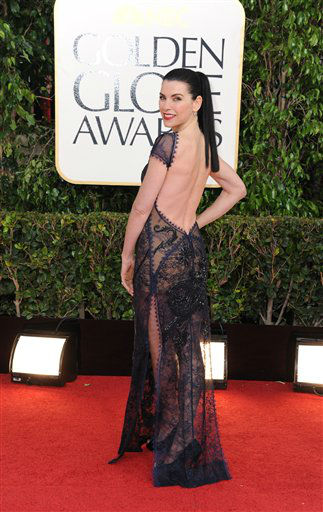 "<div class=""meta ""><span class=""caption-text "">Actress Julianna Margulies arrives at the 70th Annual Golden Globe Awards at the Beverly Hilton Hotel on Sunday Jan. 13, 2013, in Beverly Hills, Calif. (Photo by Jordan Strauss/AP)</span></div>"