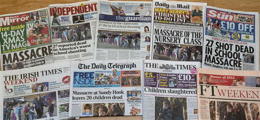 "<div class=""meta image-caption""><div class=""origin-logo origin-image ""><span></span></div><span class=""caption-text"">A photograph showing a selection of British and Irish papers for Saturday, Dec. 15, 2012, in London, showing their front page headlines and reaction to the Connecticut School shooting, in Newtown, Conn. Friday, Dec, 14.  A man killed his mother at their home and then opened fire Friday inside the elementary school where she taught, massacring 26 people, including 20 children, as youngsters cowered in fear to the sound of gunshots reverberating through the building and screams echoing over the intercom.   (AP Photo/ Alastair Grant)</span></div>"