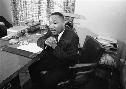 "<div class=""meta ""><span class=""caption-text "">Dr. Martin Luther King Jr. tells a news conference in Atlanta on July 27, 1964, that violence would set back the civil rights movement. He urged New York African Americans to halt violence and lawlessness, before leaving for New York for a meeting with Mayor Robert Wagner and African American leaders. (AP Photo/Horace Cort) (AP Photo/ Horace Cort)</span></div>"