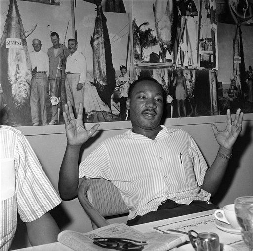 "<div class=""meta image-caption""><div class=""origin-logo origin-image ""><span></span></div><span class=""caption-text"">Dr. Martin Luther King Jr., at Bimini, a tiny Bahamian Island off the Florida coast, where he came to write his speech of acceptance of the Nobel Peace Prize on Nov. 19, 1964. King, smarting under criticism by J. Edgar Hoover, said the FBI Director is ?faltering under the heavy burden and criticisms of his office.? (AP Photo/Jim Kerlin) (AP Photo/ Jim Kerlin)</span></div>"