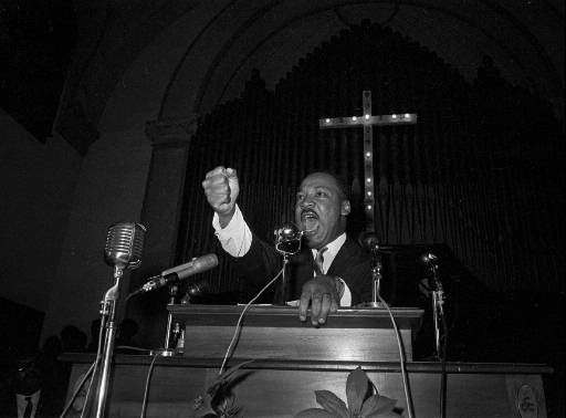 "<div class=""meta ""><span class=""caption-text "">Dr. Martin Luther King Jr., co-pastor with his father of the Ebenezer Baptist Church in Atlanta, Ga., speaks in Eutaw, Alabama, in June 1965.  King is head of the Southern Christian Leadership Coalition and a Nobel Peace Prize winner.  (AP Photo) (AP Photo/ XJRG HMB)</span></div>"