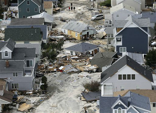 This aerial photo shows destruction left in the wake of superstorm Sandy, Wednesday, Oct. 31, 2012, in Seaside Heights, N.J.   <span class=meta>(AP Photo&#47; Mike Groll)</span>
