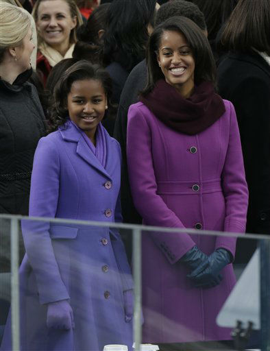 Sasha and Malia Obama arrive at the ceremonial swearing-in of their father President Barack Obama at the U.S. Capitol during the 57th Presidential Inauguration in Washington, Monday, Jan. 21, 2013.   <span class=meta>(AP Photo&#47; Pablo Martinez Monsivais)</span>