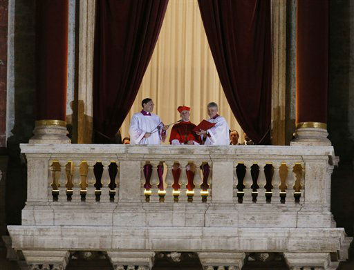 Cardinal Jean-Louis Tauran announces the newly elected Pope Jorge Mario Bergoglio, who took the name of Pope Francis, elected on Wednesday, March 13, 2013 the 266th pontiff of the Roman Catholic Church from the central balcony of St. Peter&#39;s Basilica at the Vatican.   <span class=meta>(AP Photo&#47; Michael Sohn)</span>