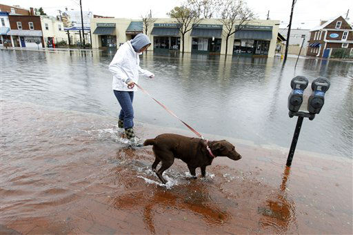 Lauren Sinnott walks her dog becca in a flooded street in downtown Annapolis  Md,  Tuesday, Oct. 30, 2012, in the wake of Superstorm Sandy. Sandy, the storm that made landfall Monday, caused multiple fatalities, halted mass transit and cut power to more than 6 million homes and businesses.   <span class=meta>(AP Photo&#47; Jose Luis Magana)</span>