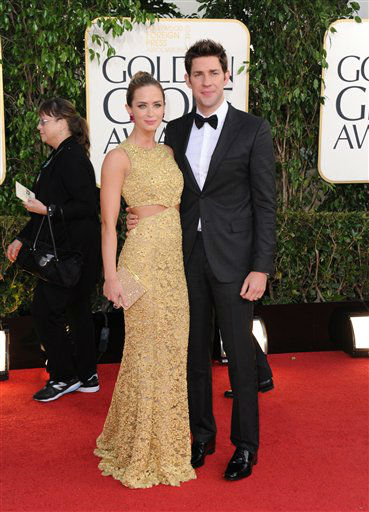 Actors Emily Blunt, left, and John Krasinski arrive at the 70th Annual Golden Globe Awards at the Beverly Hilton Hotel on Sunday Jan. 13, 2013, in Beverly Hills, Calif. &#40;Photo by Jordan Strauss&#47;Invision&#47;AP&#41; <span class=meta>(Photo&#47;Jordan Strauss)</span>