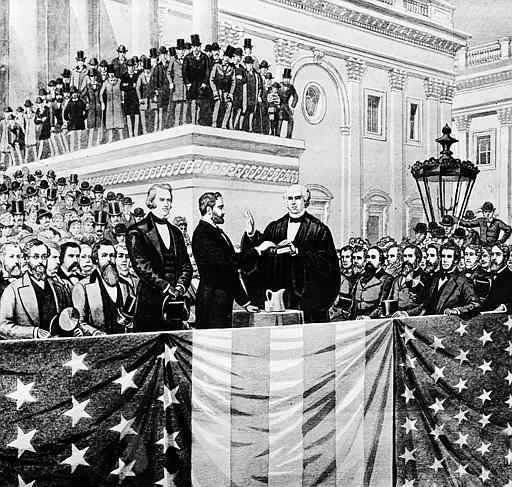 This artist&#39;s rendition shows the second inauguration for Ulysses S. Grant, center left, as he takes the oath of office administered by Chief Justice Salmon P. Chase on the East Portico of the Capitol building in Washington, D.C., on March 4, 1873. <span class=meta>(AP Photo&#47; Anonymous)</span>