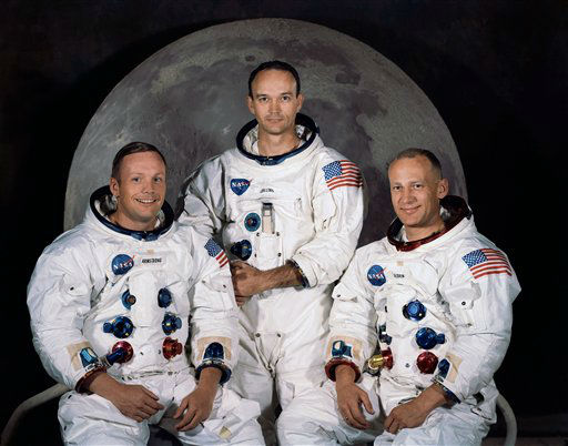 "<div class=""meta ""><span class=""caption-text ""> In this 1969 photo provided by NASA the crew of the Apollo 11 mission is seen. From left are Neil Armstrong, Mission Commander, Michael Collins,  Lt. Col. USAF, and Edwin Eugene Aldrin, also known as Buzz Aldrin, USAF Lunar Module pilot.  The family of Neil Armstrong, the first man to walk on the moon, says he has died at age 82. A statement from the family says he died following complications resulting from cardiovascular procedures. It doesn't say where he died. Armstrong commanded the Apollo 11 spacecraft that landed on the moon July 20, 1969. He radioed back to Earth the historic news of ""one giant leap for mankind."" Armstrong and fellow astronaut Edwin ""Buzz"" Aldrin spent nearly three hours walking on the moon, collecting samples, conducting experiments and taking photographs. In all, 12 Americans walked on the moon from 1969 to 1972. ) (AP Photo/ Uncredited)</span></div>"