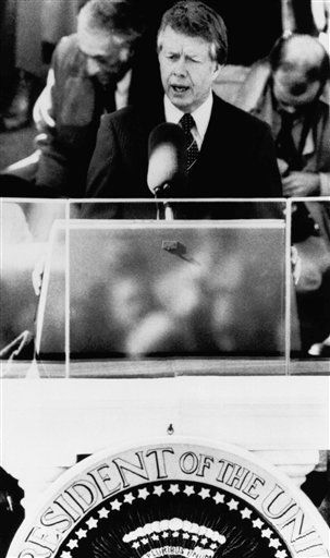 President Jimmy Carter addresses the crowd attending his inauguration at the Capitol Thursday, Jan. 20, 1977, Washington, D.C. &#40;AP Photo&#41; <span class=meta>(AP Photo&#47; Anonymous)</span>