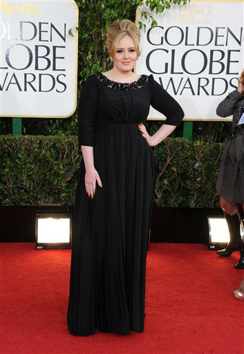 Singer Adele arrives at the 70th Annual Golden Globe Awards at the Beverly Hilton Hotel on Sunday Jan. 13, 2013, in Beverly Hills, Calif. &#40;Photo by Jordan Strauss&#47;Invision&#47;AP&#41; <span class=meta>(Photo&#47;Jordan Strauss)</span>