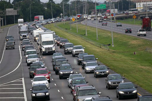 A line of traffic extends down Interstate 10 heading towards Baton Rouge, as many residents leave the New Orleans area in anticipation of tropical storm Isaac, which is expected to make landfall on the Louisiana coast as a hurricane, in Kenner, La., Monday, Aug. 27, 2012.   <span class=meta>(AP Photo&#47; Gerald Herbert)</span>