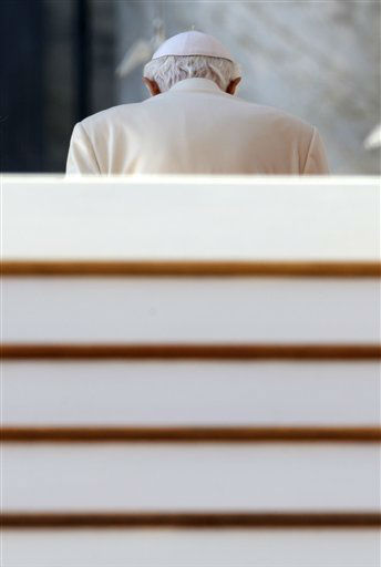 "<div class=""meta image-caption""><div class=""origin-logo origin-image ""><span></span></div><span class=""caption-text"">Pope Benedict XVI leaves after celebrating his final general audience in St. Peter's Square at the Vatican, Wednesday, Feb. 27, 2013. Pope Benedict XVI basked in an emotional sendoff Wednesday at his final general audience in St. Peter's Square, recalling moments of ""joy and light"" during his papacy but also times of great difficulty. He also thanked his flock for respecting his decision to retire.   (AP Photo/ Gregorio Borgia)</span></div>"