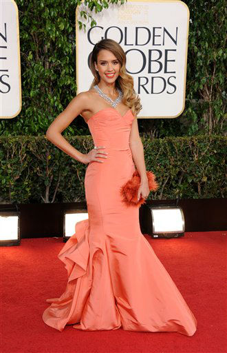 Actress Jessica Alba arrives at the 70th Annual Golden Globe Awards at the Beverly Hilton Hotel on Sunday Jan. 13, 2013, in Beverly Hills, Calif.  <span class=meta>(Photo by Jordan Strauss&#47;AP)</span>