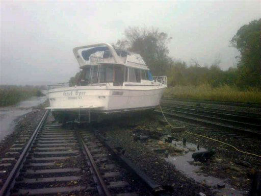 This photo provided by the Metropolitan Transportation Authority of the State of New York shows a boat resting on the tracks at Metro-North&#39;s Ossining Station in the aftermath of Hurricane Sandy on Tuesday, Oct. 30, 2012, in Ossining,N.Y. Sandy, the storm which was downgraded from a hurricane just before making landfall, caused multiple fatalities, halted mass transit and cut power to more than 6 million homes and businesses. &#40;AP Photo&#47;Metropolitan Transportation Authority of the State of New York&#41;   <span class=meta>( )</span>