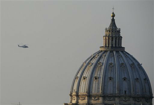 "<div class=""meta image-caption""><div class=""origin-logo origin-image ""><span></span></div><span class=""caption-text"">The helicopter taking Pope Benedict XVI to Castel Gandolfo leaves the Vatican in Rome, Thursday, Feb. 28, 2013. Shortly before 5 p.m. on Thursday, Pope Benedict left the Apostolic palace inside the Vatican for the last time as pontiff, headed to the helipad at the top of the hill in the Vatican gardens and flew to the papal retreat at Castel Gandolfo south of Rome. There, at 8 p.m. sharp, Benedict will become the first pontiff in 600 years to resign.   (AP photo)</span></div>"