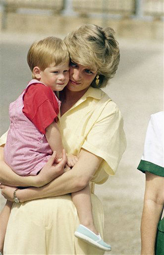 "<div class=""meta image-caption""><div class=""origin-logo origin-image ""><span></span></div><span class=""caption-text"">The Princess of Wales holds son Prince Harry while royal families posed for photographers at the Royal Palace, Majorca, Spain on Sunday, August 9, 1987. Prince Charles and Princess Diana with their two children William and Henry are spending a week?s vacation on the island as guests of King Juan Carlos and his family. (AP Photo/John Redman) (AP Photo/ JOHN REDMAN)</span></div>"