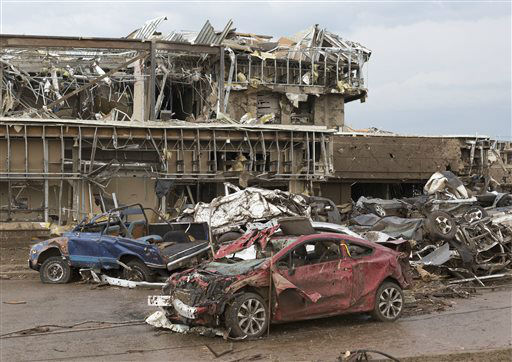 "<div class=""meta image-caption""><div class=""origin-logo origin-image ""><span></span></div><span class=""caption-text"">The Moore Medical Center and vehicles lay damaged after a tornado moves through Moore, Okla. on Monday, May 20, 2013.    (AP Photo/ Alonzo Adams)</span></div>"