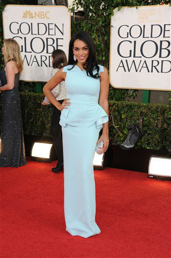 Rosario Dawson arrives at the 70th Annual Golden Globe Awards at the Beverly Hilton Hotel on Sunday Jan. 13, 2013, in Beverly Hills, Calif. <span class=meta>(Photo by Jordan Strauss&#47;AP)</span>