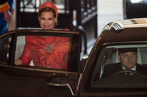 Grand Duchess Maria Teresa, mother of the groom, leaves the Grand Ducal Palace in Luxembourg, Saturday Oct. 20, 2012 on her way to the cathedral. Royalty from Europe, the Middle East and Japan have arrived in the tiny country to celebrate the wedding ceremonies of the heir to the throne Prince Guillaume to Belgian Countess Stephanie de Lannoy. &#40;AP Photo&#47;Geert Vanden Wijngaert&#41; <span class=meta>(AP Photo)</span>