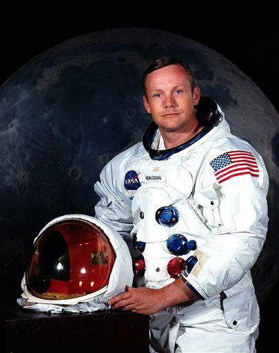 In undated photo provided by NASA shows Neil Armstrong.  The family of Neil Armstrong, the first man to walk on the moon, says he has died at age 82. A statement from the family says he died following complications resulting from cardiovascular procedures. It doesn&#39;t say where he died. Armstrong commanded the Apollo 11 spacecraft that landed on the moon July 20, 1969. He radioed back to Earth the historic news of &#34;one giant leap for mankind.&#34; Armstrong and fellow astronaut Edwin &#34;Buzz&#34; Aldrin spent nearly three hours walking on the moon, collecting samples, conducting experiments and taking photographs. In all, 12 Americans walked on the moon from 1969 to 1972.  <span class=meta>(AP Photo&#47; Uncredited)</span>
