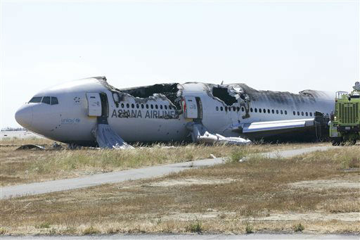 "<div class=""meta ""><span class=""caption-text "">In this image provided by the NTSB, the wreckage of the Asiana Airline flight 214 is seen Sunday July 7, 2013. The Asiana flight crashed upon landing Saturday, July 6, at San Francisco International Airport, and two of the 307 passengers aboard were killed.  (AP Photo/ Uncredited)</span></div>"