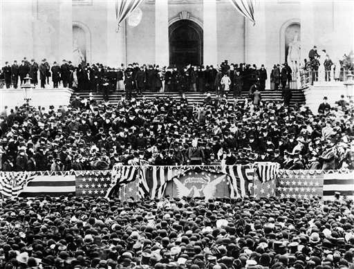 ** FILE ** In a file photo President Grover Cleveland reads his inaugural address from the steps of the Capitol building in Washington, D.C., March 4, 1893.  President Cleveland was sworn in as the 24th president of the United States in a ceremony administered by Chief Justice Melville W. Fuller.  &#40;AP Photo&#47;file&#41; <span class=meta>(AP Photo&#47; Anonymous)</span>