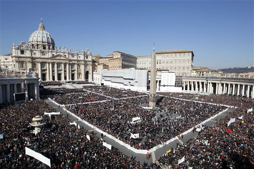 A view of the crowd in St. Peter&#39;s Square during Pope Benedict XVI&#39;s last general audience in St. Peter&#39;s Square, at the Vatican, Wednesday, Feb. 27, 2013. Benedict XVI basked in an emotional sendoff Wednesday at his final general audience in St. Peter&#39;s Square, recalling moments of &#34;joy and light&#34; during his papacy but also times of great difficulty. He also thanked his flock for respecting his decision to retire.   <span class=meta>(AP Photo&#47; Andrew Medichini)</span>
