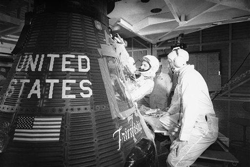 FILE - In this Jan. 2, 1962 file picture, astronaut John Glenn climbs into the &#34;Friendship 7&#34; Mercury capsule at Cape Canaveral, Fla. The family of Neil Armstrong, the first man to walk on the moon, says he has died at age 82. A statement from the family says he died following complications resulting from cardiovascular procedures. It doesn&#39;t say where he died. Armstrong commanded the Apollo 11 spacecraft that landed on the moon July 20, 1969. He radioed back to Earth the historic news of &#34;one giant leap for mankind.&#34; Armstrong and fellow astronaut Edwin &#34;Buzz&#34; Aldrin spent nearly three hours walking on the moon, collecting samples, conducting experiments and taking photographs. In all, 12 Americans walked on the moon from 1969 to 1972.    <span class=meta>(AP Photo&#47; Uncredited)</span>