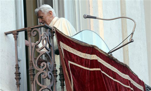 "<div class=""meta image-caption""><div class=""origin-logo origin-image ""><span></span></div><span class=""caption-text"">Pope Benedict XVI leaves after greetings faithful from his summer residence of Castel Gandolfo, the scenic town where he will spend his first post-Vatican days and made his last public blessing as pope,Thursday, Feb. 28, 2013.   (AP Photo/ Alessandra Tarantino)</span></div>"