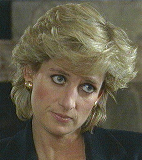 FILE -- In this Nov. 20, 1995 file photo, Princess Diana, seen in this television image, listens to a question during an interview taped earlier and aired on the BBC&#39;s program Panorama, in this Monday Nov. 20, 1995 file photo. Speaking quietly,the Princess says she desperately wanted her marriage to work and the problems of media pressure and her husband&#39;s infidelity caused her to &#34;escape&#34; in binges of eating and vomiting. Princess Diana would have been 50 years old on Friday, July 1, 2011, perhaps the only certainty about the course of a life abruptly cut short in a 1997 car crash in Paris, with a new boyfriend, two months past her 36th birthday. &#40;AP Photo&#47;BBC Panorama, file&#41; MANDATORY CREDIT NO SALES <span class=meta>(AP Photo&#47; XCJ SH APH JW AT**LON** EJB**LON)</span>