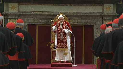 "<div class=""meta ""><span class=""caption-text "">In this image taken from video, Pope Benedict XVI delivers his final message to the assembly of cardinals at the Vatican Thursday Feb. 28, 2013, before he retires in just a few hours. Benedict urged the cardinals to work in unity and promised his ""unconditional reverence and obedience"" to his successor in a poignant and powerful farewell before he becomes the first pope in 600 years to resign. (AP photo)</span></div>"