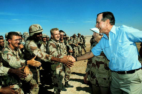 "<div class=""meta image-caption""><div class=""origin-logo origin-image ""><span></span></div><span class=""caption-text"">President and Mrs Bush greet US Troops in Saudia Arabia  Photos provided by: George Bush Presidential Library and Museum </span></div>"
