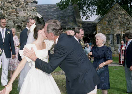 "<div class=""meta ""><span class=""caption-text "">President and Mrs. Bush attend the wedding of Pamela Anne Grindle and Reuben Andrus Holden V (his father is the President's first cousin), Kennebunkport, ME, 28 Jul 90.  Photos provided by: George Bush Presidential Library and Museum </span></div>"