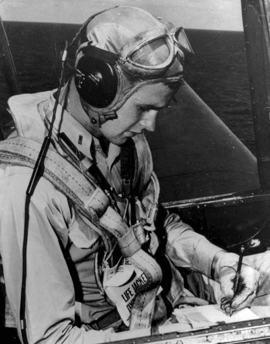 George H. W. Bush in the cockpit of an Avenger,  US Navy, August 1942 to September 1945.  Photos provided by: George Bush Presidential Library and Museum