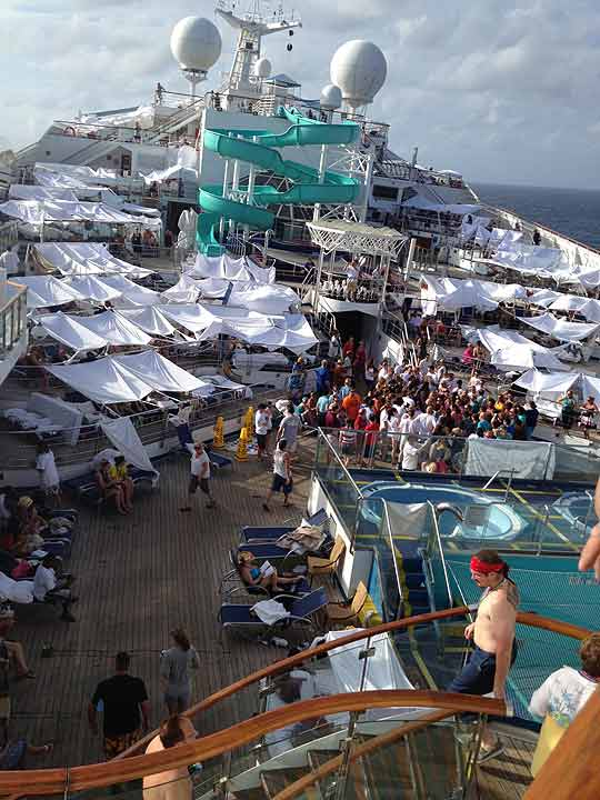 Passengers created makeshift tents out of towel and bed sheets all over the deck of the ship