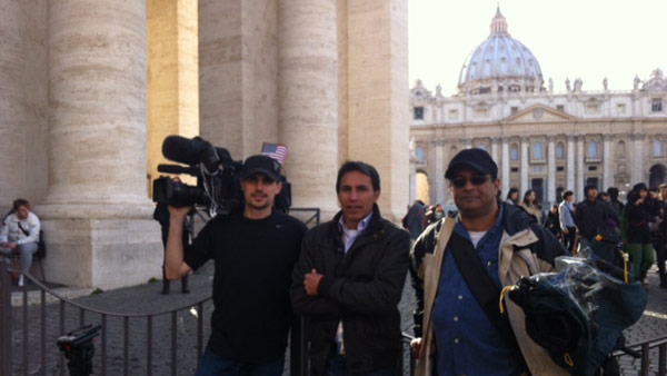 The ABC13 crew in Rome working hard to bring us the very latest on the papal conclave. <span class=meta>(Photo&#47;Wendy Granato)</span>