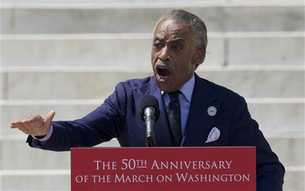 Rev. Al Sharpton speaks during an event to commemorate the 50th anniversary of the 1963 March on Washington at the Lincoln Memorial, Saturday, Aug. 24, 2013, in Washington. &#40;AP Photo&#47;Carolyn Kaster&#41; <span class=meta>(Photo&#47;Carolyn Kaster)</span>
