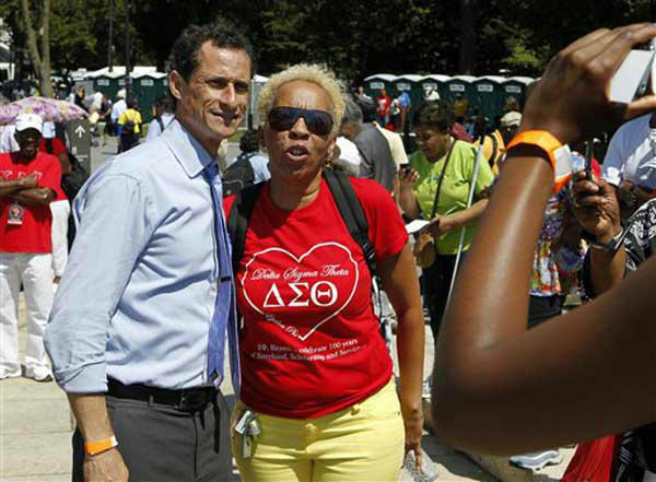 Former Congressman and New York City mayoral candidate Anthony Weiner poses for a photo as he attends a rally to commemorate the 50th anniversary of the 1963 March on Washington on the steps of the Lincoln Memorial on Saturday, Aug. 24, 2013, in Washington. &#40;AP Photo&#47;Jon Elswick&#41; <span class=meta>(Photo&#47;Jon Elswick)</span>