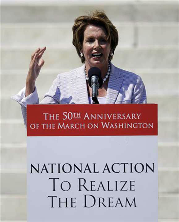 "<div class=""meta ""><span class=""caption-text "">Rep. Nancy Pelosi, D-Calif., speaks at a rally to commemorate the 50th anniversary of the 1963 March on Washington on the steps of the Lincoln Memorial on Saturday, Aug. 24, 2013, in Washington. (AP Photo/Carolyn Kaster) (Photo/Carolyn Kastr)</span></div>"