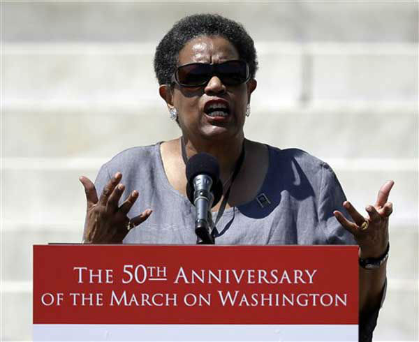 "<div class=""meta ""><span class=""caption-text "">Myrlie Evers-Williams, widow of Medgar Evans, speaks at a rally to commemorate the 50th anniversary of the 1963 March on Washington on the steps of the Lincoln Memorial on Saturday, Aug. 24, 2013, in Washington. (AP Photo/Carolyn Kaster) (Photo/Carolyn Kastr)</span></div>"