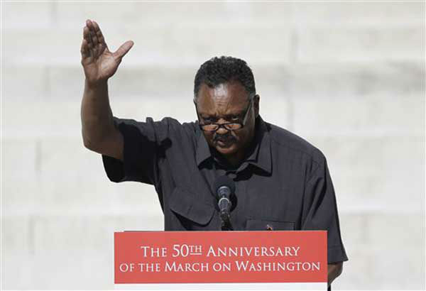 Rev. Jesse Jackson speaks during an event to commemorate the 50th anniversary of the 1963 March on Washington at the Lincoln Memorial, Saturday, Aug. 24, 2013, in Washington. &#40;AP Photo&#47;Carolyn Kaster&#41; <span class=meta>(Photo&#47;Carolyn Kaster)</span>