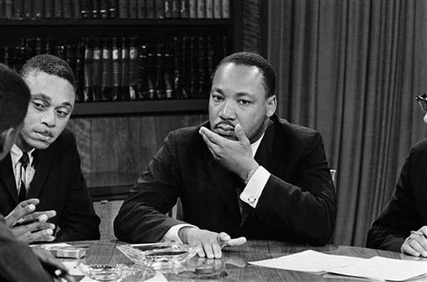 "<div class=""meta image-caption""><div class=""origin-logo origin-image ""><span></span></div><span class=""caption-text"">The Rev. Dr. Martin Luther King is shown during appearance on the ""Protestant Heritage"" telecast over NBC-TV, on June 30, 1963 from New York.   King announced final plans for a Civil Rights March on the Capitol at Washington D.C. would be formulated at a closer-door meeting in New York, July 2, 1963.   Dr. King, president of the Southern Christian Leadership Conference,  said he would ""definitely take part"" in the march.   (AP Photo) (Photo/Anonymous)</span></div>"