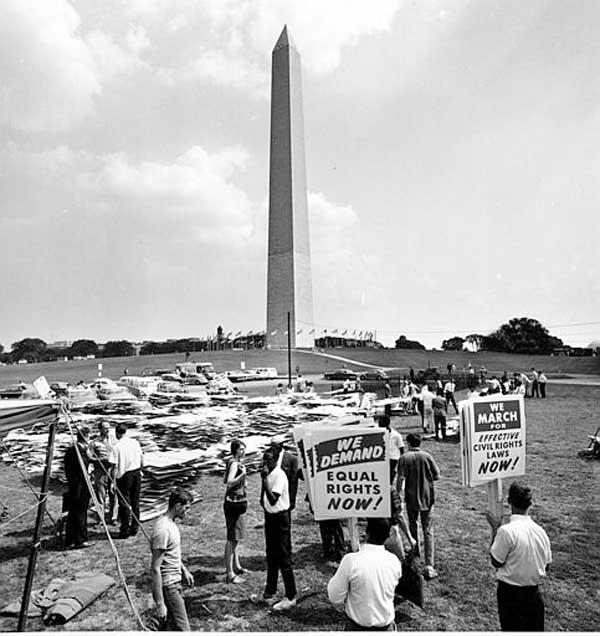 "<div class=""meta ""><span class=""caption-text "">Signs which civil rights demonstrators will carry in the March on Washington are stacked high in the area near the Washington Monument, on August 27, 1963. (AP Photo)</span></div>"